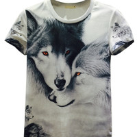 White Docile Wolves Printed Short Sleeve T-shirt