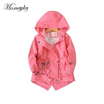 Flower Embroidered Jackets For Girls Hooded Baby Girl Windbreaker Toddler Girls Jacket And Coat Spring Autumn Kids Outerwear