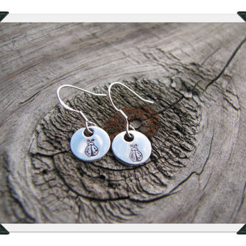 Hand Stamped Sterling Silver Dangle Earrings - Ladybug