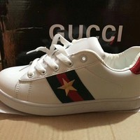 """Gucci"" Unisex Casual Fashion Multicolor Stripe Five-pointed Star Embroidery Plate Shoes Couple Small White Shoes Sneakers"