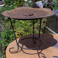 Vintage Iron Birdfeeder/Plant Stand...Upcycled Rustic Tractor Disc...Salvaged...Outdoor Masculine Man Cave Decor--Garden Decor--Rusty Chic