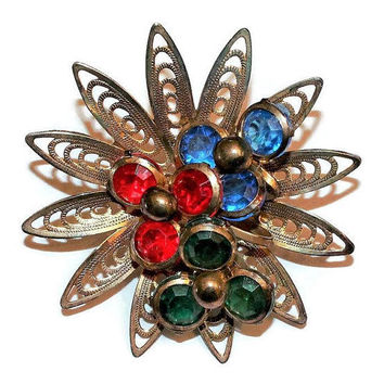 Retro Atomic Starburst Brooch, Colorful Acrylic Accent Stones In Gold Tone