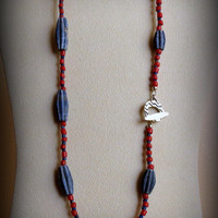 Lapis Necklace With Sterling Silver Clasp and Glass Beads, Statteam