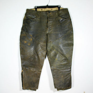 Vintage Men's Distressed Leather Berlin Glove Co. Riding Motorcycle Pants Size 42