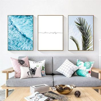Nordic Poster Scandinavian Style Ocean Sea Waves Wall art Canvas Painting Modern Landscape Picture For living room Decoration