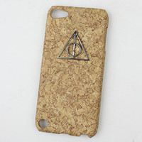 Deathly Hallows Harry Potter And Yellow wood grain Hard Case Cover for Apple Ipod Touch 5, iPod Touch 5th,iTouch 5,iPod Touch 5