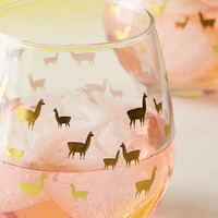Foiled Llama Stemless Wine Glass Set | Urban Outfitters