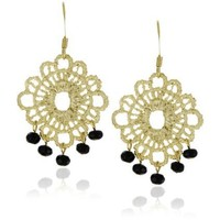 "RAIN ""Gold Lace"" Earrings with Black"