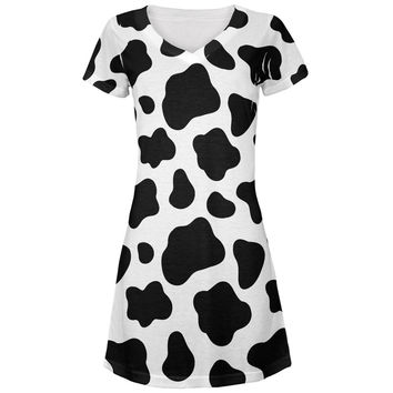 Cow Pattern Costume All Over Juniors V-Neck Dress