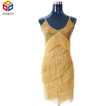 Stunning Stage Dance Costume 1920s Great Gatsby Style Sequin Tassel V-Neck Cocktail Latin Party Dress