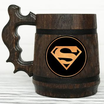 Superman Mug. Superhero Mug. Superman Gift. Personalized Super Hero Beer Stein Wooden Beer Mug Custom Engraved Wooden Beer Tankard Personalized Gift for Men #82 / 0.6L / 22 ounces