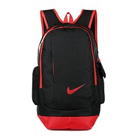"""Nike"" Casual Style Daypack Travel Bag Backpack Shoulder Bag School Backpack Black red"