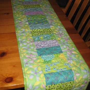 Quilted Table Runner, Turquoise, Green, Yellow & Purple