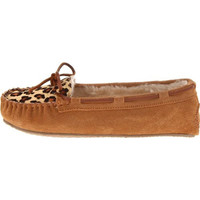 Minnetonka Womens Cally Suede Faux Fur Lined Moccasin Slippers