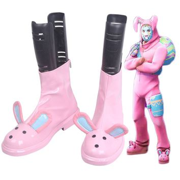 Game Fortress Night Battle Rabbit Raider Pink Cosplay Boots Shoes Custom Made