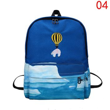 Personality hot air balloon print backpack school bag for teenger girls designer canvas backpack women school bags sac a dos