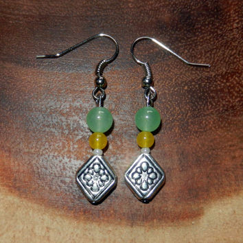Yellow and Light Green Earrings, Dangle Earrings, Bohemian Earrings, Spring Earrings, Womens Earrings