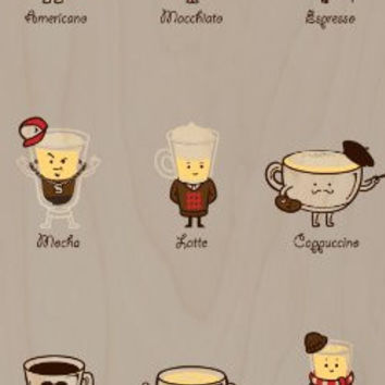 'Coffee Personality' Funny Cartoon Coffee Drink Types w/ Expressions - Plywood Wood Print Poster Wall Art