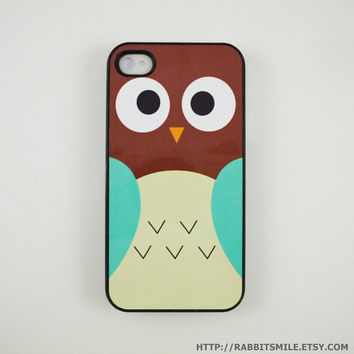 Brown/blue Owl iPhone 5 Case, iPhone 4 case, iPhone 4s Cover , Hard Plastic iphone 5 Cover, cases