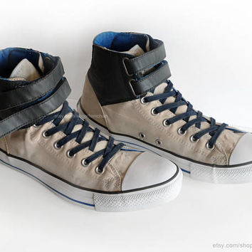 Converse All Stars high tops, vintage velcro sneakers, cream, khaki, sapphire blue, casual shoes, size 44 (UK 10, US men's 10, US wo's 12)
