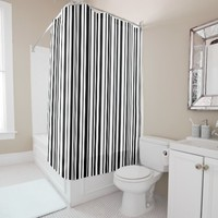 Black and white designer stripes - High Quality Shower Curtain