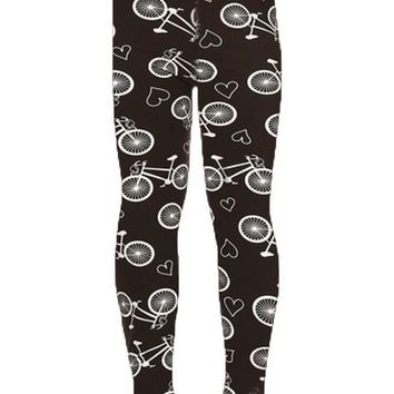 Girl's Bike Leggings Bicycles & Hearts Black/White: S/L