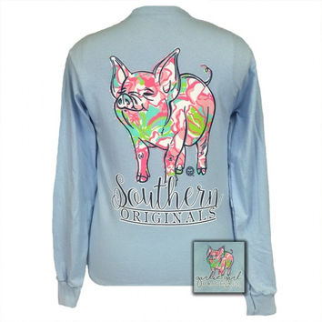 Girlie Girl Originals Southern Preppy Pig Long Sleeve T-Shirt