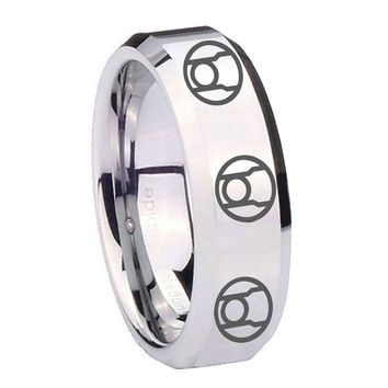 8MM Mirror Bevel Edges Multiple Red Lantern Silver Tungsten Laser Engraved Ring
