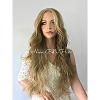 Light Natural Blonde Human Hair Blend Multi Parting Lace Front Wig - e1037