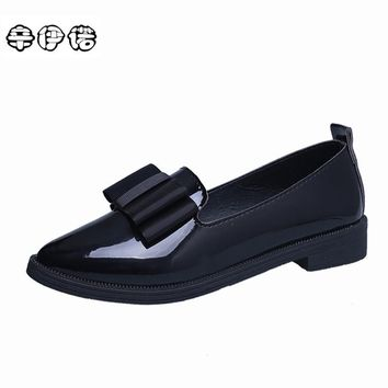 Classic Ladies Loafers Flats Women Square Heel Shoes Pointed Toe Oxford For Women Spring Brand Bow Platform Designer Shoes Black