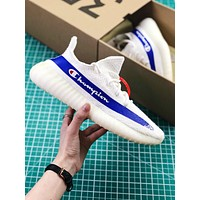 Champion X Adidas Yeezy 350 Boost V2 White Blue Sport Running Shoes