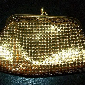 "Gold Mesh Coin Purse Whiting & Davis Mesh Bag Peach Lining 4"" Vintage 1950s"