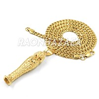 Hip Hop Stainless Steel Gold Eye of Horus on Pyramid Pendant W Cuban Chain