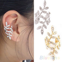 New Fashion 2014 Women's Punk Rock Retro Earring Crystal Leaf Ear Cuff Warp Clip Ear Stud for women 00EG