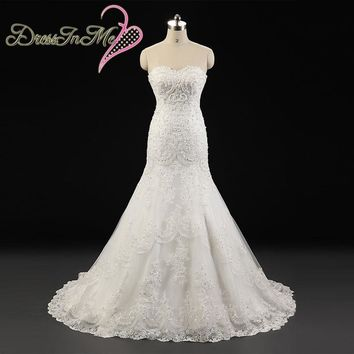 Beaded Sweetheart Neckline Corded Lace Appliqued Fit and Flare A Line Wedding Dress Vestido de Noiva