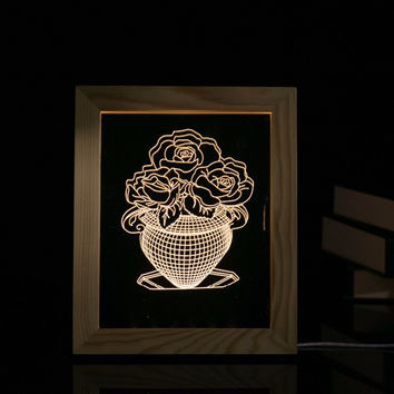 3D Creative LED Decorative Vase Wooden Photo Frame Acrylic Nightlight Living Room Bedroom Table Lamp