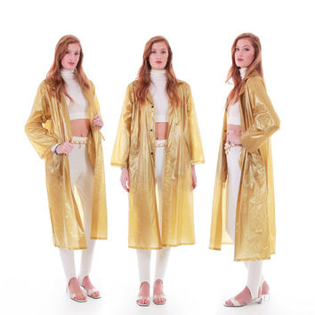 80s Vintage Gold Raincoat Shiny Metallic PVC Long Slicker Mac Coat Retro Minimalist Winter 90s Clothing Women Size Large