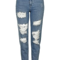 MOTO Blue Super Rip Mom Jeans - Topshop