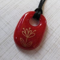 Flower Pendant, Fused Glass Jewelry, Red, Gold Flower - Gold Blossoms - 4240 -1