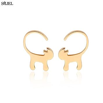 Animal Long Tail Cat Stud Earrings for Women Tiny Kitty Earrings