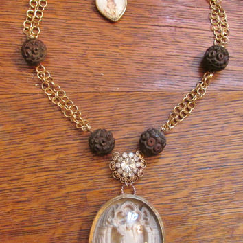 Antique meerschaum necklace religious Madonna saint carved wood rosary bubble glass reliquary sacred heart religious jewelry