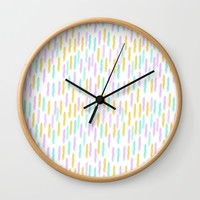 Hello Spring Pastel Pattern Wall Clock by Allyson Johnson | Society6