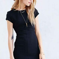 Silence + Noise Textured Ponte Knit Mini Dress- Black