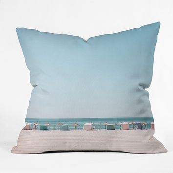 Hello Twiggs Beach Huts Outdoor Throw Pillow