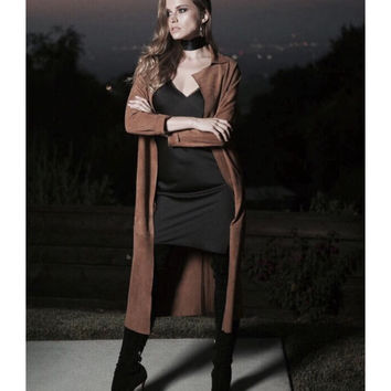 Long Suede Trench | Biscuit