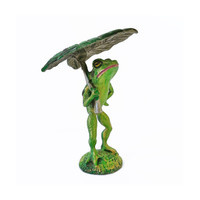 Vintage pewter image frog figurine green enamel standing with lily pad umbrella collectible statue