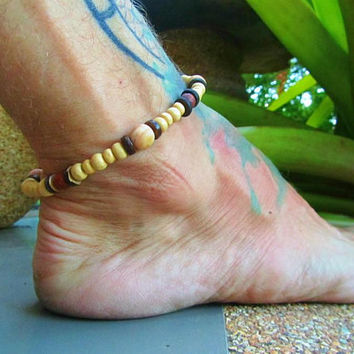 Petrified Wood Beaded Anklet / Mens Wooden Ankle Bracelet / Hippie Surfer Ankle Bracelet / Stretchy Beaded Anklet / Stone Beaded Manklet