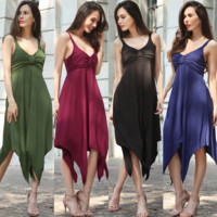 Fashion Sexy Solid Color V-Neck Sleeveless Backless Irregular Swallowtail Skirt Vest Dress