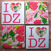 Lilly Pulitzer Inspired Delta Zeta I heart DZ Tile Coasters