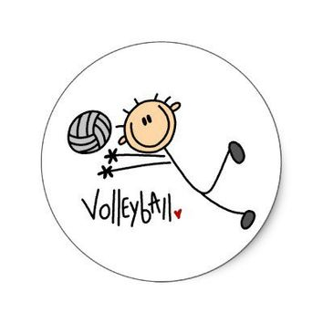 Volleyball Stick Figure Stickers from Zazzle.com